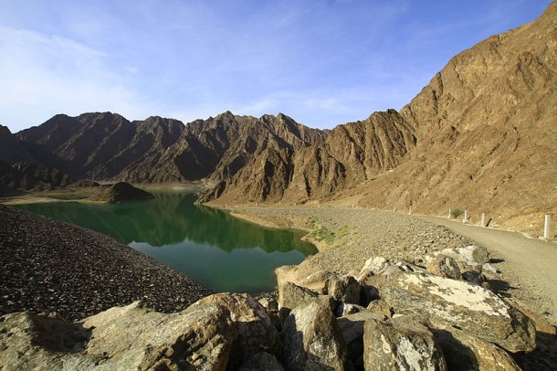 Beautiful Hatta Mountain with Dam